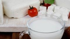 White greek feta cheese with milk Stock Footage