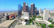 Stock Video Footage of 4K, Aerial  view of  Los Angeles Downtown Skyline