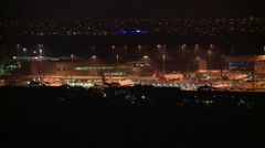Airport at night Airliners Aircraft Jet liners Stock Footage