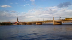 The stone Bridge and Daugava river with the St. Peter's Church Stock Footage