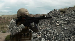 Soldier shooting automatic small target rifle at range single fire. Stock Footage