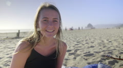 Portrait of teenager on beach Stock Footage
