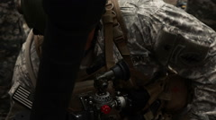 Close up of a soldier aiming a mortar launcher. Stock Footage