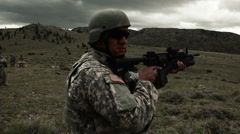 Soldier preparing to fire 40 mm grenade launcher. Stock Footage