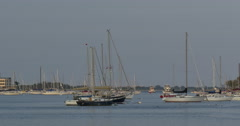 4k, View on yachts in Sheepshead Bay area, Brooklyn, NY Stock Footage