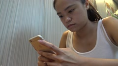 Attractive Young Woman Using Touchscreen Tablet Smartphone Device 4K-Dan Stock Footage