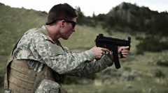 Soldier shoots an MP5 Stock Footage