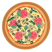 pizza with tomato, mushrooms and olives - stock illustration