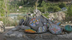 Mani stone wall,Sangla,Kinnaur,India Stock Footage