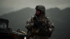 Portrait shot of soldier nodding. Stock Footage