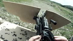 Machine gun fired from above Stock Footage