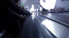 Motion time lapse hyperlapse going down an escalator to the subway Stock Footage