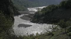 Sangla river zigzag through valley,Sangla,Kinnaur,India Stock Footage