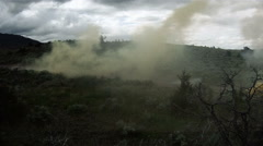 Training explosives go off creating clouds of smoke at a military training. Stock Footage
