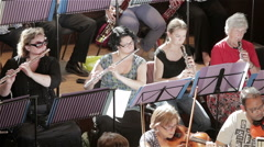 Orchestra rehearsal: wind section front row Stock Footage