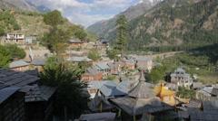 View of Sangla village and valley,Sangla,Kinnaur,India Stock Footage