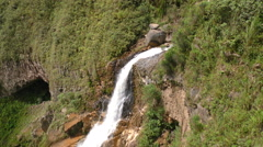 Agoyan waterfall in Ecuador traveling aerial shot Stock Footage