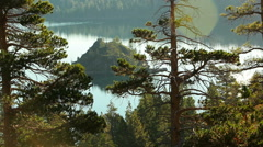 Static shot of Fannette Island in Lake Tahoe seen through trees on a forrested Stock Footage