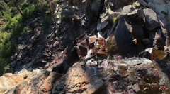 Tilting shot of rocky waterfall to pine forest above Emerald Bay, Lake Tahoe. Stock Footage