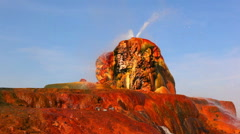 Shot of the colorful formations and hot water spouts at Fly Geyser, Nevada. Stock Footage