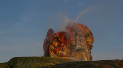 Close up shot of the colorful rocks and spouting water of Fly Geyser, Nevada. Stock Footage