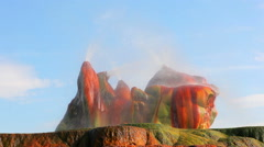 Close up of mist flying off strange, smooth rocks at Fly Geyser, Nevada. Stock Footage