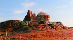 Shot of the strange, colorful rocks and water spouts at Fly Geyser, Nevada. Stock Footage