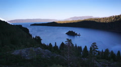 Shot of beautiful mountains and Emerald Bay at Lake Tahoe, California. Stock Footage