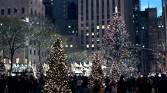 Christmas decorated Center street in New York. - stock footage