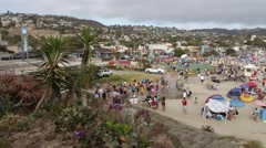 Aerial View of People on the Beach in Laguna, California, The United States o Stock Footage