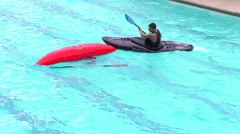 Water sports rescue demonstration for summer contest in Santa Ana pool Stock Footage