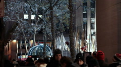 Christmas tree decorated with lights in New York. - stock footage