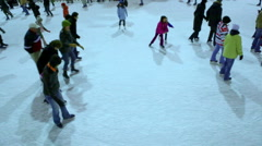 People skating at the ice rink at Rockefeller Center, New York. - stock footage