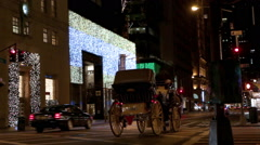 Street decorated for Christmas, horse carriage, cars, and lights in New York. - stock footage