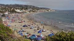 People on the Beach in Laguna, California Stock Footage