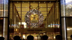 Christmas wreath on Trump Tower in New York. - stock footage