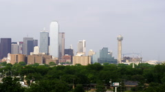 Panorama of the Dallas skyline on a slightly hazy day. Stock Footage