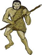 Neanderthal Man Holding Spear Etching - stock illustration