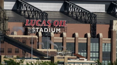 Close-up shot of the Lucas Oil Stadium, Indianapolis, Indiana. Stock Footage