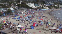 July 4 Independence Day People Relaxing in Laguna Beach, California Stock Footage