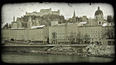 Stock Video Footage of Old town Salzburg. Vintage stylized video clip.