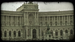 Stock Video Footage of Hofburg Palace in Vienna, Austria. Vintage stylized video clip.