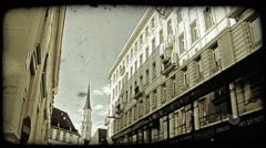 Vienna Building 12. Vintage stylized video clip. - stock footage