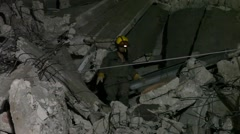Homeland Security Soldiers searches for earthquake casualties - stock footage