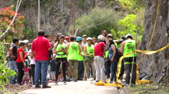 Group of people before the rock climbing competition - stock footage