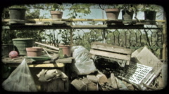 Garden Clutter. Vintage stylized video clip. Stock Footage