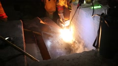 Firefighters Cutting Metal with a Blowtorch Stock Footage