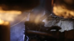 Close up of Man Using Water-cooled Diamond Blad Chainsaw Stock Footage