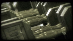 Large barbells 2. Vintage stylized video clip. Stock Footage