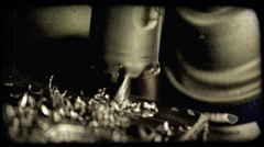 Metallic drill drills. Vintage stylized video clip. Stock Footage